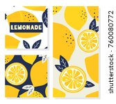 set of backgrounds with lemons. ... | Shutterstock .eps vector #760080772