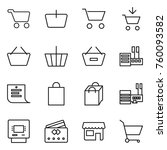 thin line icon set   cart ... | Shutterstock .eps vector #760093582