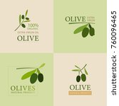 set of olive banner labels. | Shutterstock .eps vector #760096465