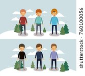 winter people with two scenes... | Shutterstock .eps vector #760100056