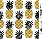 gold glitter pineapples on... | Shutterstock . vector #760104712