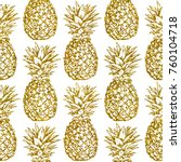 gold glitter pineapples on... | Shutterstock . vector #760104718