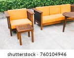 wooden sofa and chair with... | Shutterstock . vector #760104946