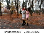 two beautiful young ladies in... | Shutterstock . vector #760108522
