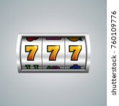 slot machine. lucky seven on... | Shutterstock .eps vector #760109776