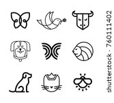 vector animal logo design set.... | Shutterstock .eps vector #760111402