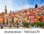 view on old part of menton ... | Shutterstock . vector #760116175