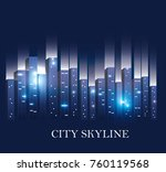 city scene at night    Shutterstock .eps vector #760119568