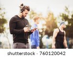 adult athlete man using mobile... | Shutterstock . vector #760120042