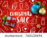 christmas sale template  with... | Shutterstock .eps vector #760120696