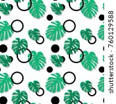 seamless pattern with monstera... | Shutterstock .eps vector #760129588