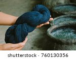 Small photo of Cotton dye indigo. Indigo is made from natural ingredients. in Thailand.