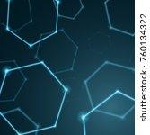 abstract hexagon background ... | Shutterstock . vector #760134322