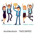 manager with winning trophy cup ... | Shutterstock .eps vector #760136902