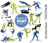 winter sports set with athletes ... | Shutterstock .eps vector #760154638