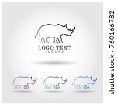 rhinoceros logo icon vector... | Shutterstock .eps vector #760166782