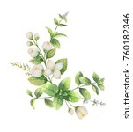 watercolor wreath of jasmine... | Shutterstock . vector #760182346