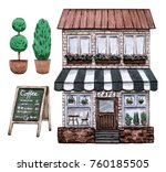 street cafe set. watercolor... | Shutterstock . vector #760185505