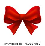 shiny red satin ribbon on white ... | Shutterstock .eps vector #760187062