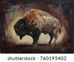 standing side view bison oil... | Shutterstock . vector #760195402