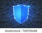 creative glowing digital... | Shutterstock . vector #760196668