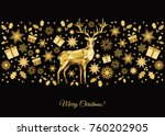 christmas background. golden ... | Shutterstock .eps vector #760202905