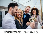 group of friends celebrating... | Shutterstock . vector #760207372