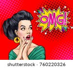 surprised young sexy woman with ... | Shutterstock . vector #760220326