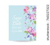 wedding invitation template... | Shutterstock .eps vector #760227322