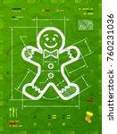 gingerbread man symbol as... | Shutterstock .eps vector #760231036