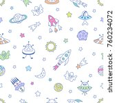 space seamless pattern with... | Shutterstock .eps vector #760234072