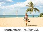 young woman traveler walking on ... | Shutterstock . vector #760234966