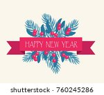 festive bouquet. branches of... | Shutterstock .eps vector #760245286