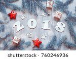 new year 2018 background with... | Shutterstock . vector #760246936