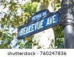 street sign bellevue avenue ... | Shutterstock . vector #760247836