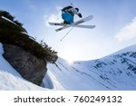 Small photo of good skiing in the snowy mountains, Carpathians, Ukraine, wonderful winter day, incredible ski jump, ski season