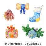 watercolor new year set.... | Shutterstock . vector #760250638