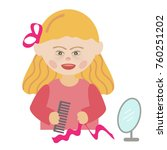 a girl with down syndrome with... | Shutterstock .eps vector #760251202