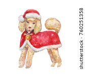watercolor dog in red santa... | Shutterstock . vector #760251358