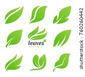 leaves logo. nature vector... | Shutterstock .eps vector #760260442