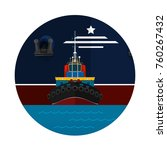 tugboat towing a large ship... | Shutterstock .eps vector #760267432