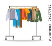 Stock vector men casual warm clothes on hanger rack flat style vector illustration male apparel hanging on 760277992