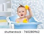 baby infant taking bath ... | Shutterstock . vector #760280962
