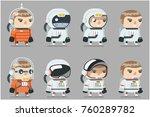 space sci fi cosmonaut... | Shutterstock .eps vector #760289782