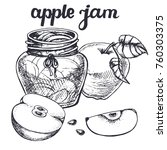 apple  jam sketch.vector hand... | Shutterstock .eps vector #760303375