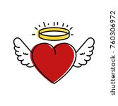 cute heart with wings and halo | Shutterstock .eps vector #760306972