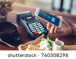 hand and mobile payment in... | Shutterstock . vector #760308298