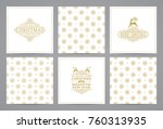 luxury retro x mas cards with... | Shutterstock .eps vector #760313935