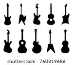 guitar silhouettes. rock ... | Shutterstock .eps vector #760319686