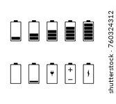 battery icon set. vector... | Shutterstock .eps vector #760324312